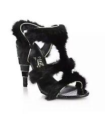 NIB Salvatore Ferragamo Larix Black Genuine Mink Sandals Heels Shoes 7M $2150