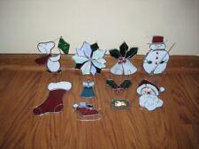 Nine Vintage Christmas Heavy Stained Glass Suncatcher Snoopy Santa Snowman