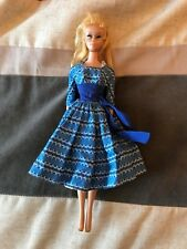 1960 blue eyeliner blond ponytail Barbie #4 plus case and accessories