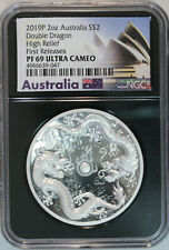 2019-P Australia 2 Oz Silver $2 Double Dragon First Releases Ngc Proof 69 Uc Hr