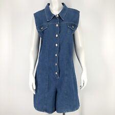 Vintage No Boundaries Womens Large Romper Shorts Denim Blue Jean 90's y2k L