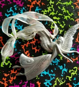 """Good Women- may we know them, may we be them, etc.. Orniment, 6"""" pewter angel"""
