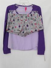 NWT Jenni by Jennifer Moore 2 Piece PJ Set Purple Top & Print Shorts X-Small
