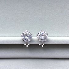 Clip on 10mm zirconia attract round Stud white gold plated earrings