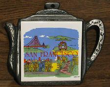 VINTAGE 1988 Souvenir San Francisco Scenes Trivet Golden Gate-Lombart-Cable Car