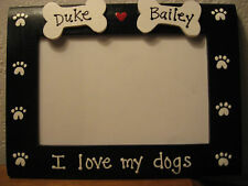 PERSONALIZED - I LOVE MY DOGS - 2 bones and names custom pet photo picture frame
