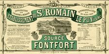 """""""SOURCE FONTFORT"""" Etiquette d'intérieur originale  Litho 1859   26x13cm"""