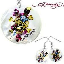 Ed Hardy Mother of Pearl dagger skull  necklace and earring set  nip