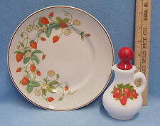 Vintage 1978 Avon Strawberry Plate 22K Gold Rim & Avon Bath Foam Bottle Lot of 2