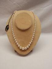 "Graduated Imitation Pearl Necklace 19"" Sharonella NOS Tag Rhinestone Silk Cord"