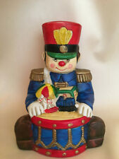 "Toy Soldier Music Box - Ceramic Soldier with Drum & Toys - Plays ""Toyland"""