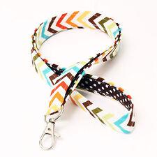 Rainbow Lanyard Nurse Badge Neck Strap Chevron Key Holder - chevron brown dot