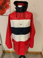 Mens Helly Hansen PVC Waterproof Hooded Jacket Red White & Blue Size Large L J52