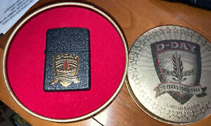 1944 1994 D-DAY NORMANDY 50 YEARS  ZIPPO LIGHTER WITH ORIGINAL ROUND TIN BOX