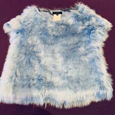 Nonoo New York Fur Topper Blouse 6 Alpaca Sky Blue EPC Vest