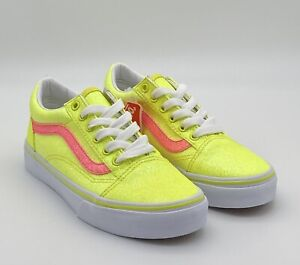 VANS Old Skool Neon Glitter - Yellow White - Kid's Youth Size 2 Skate Shoes