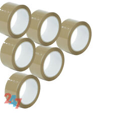6 BROWN ROLLS PARCEL PACKING TAPE 66mx 48 ADHESIVE PACKAGING SELLOTAPE F025