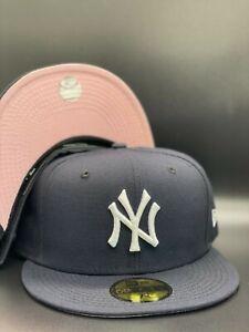 New York Yankees MLB New Era Navy / White 59Fifty Fitted Hat Pink Under Visor