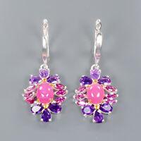 Ruby Earrings Silver 925 Sterling Fine Art Jewelry   /E41356