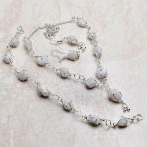 Rainbow Moonstone Gemstone Ethnic Handmade Jewelry Set 31 Gms VN-643
