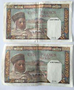 LOT DE 2 BILLETS N° CONSCUTIFS 215 & 216 100 FRANCS ALGERIE A.23-07-1945_F.2988