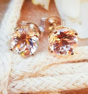 1.5ct Natural Morganite Solid White Gold Stud Earrings Push Back Diamond Alterna