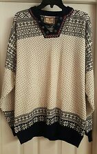 Womens Large VTG Classic Dale of Norway Fair Isle Vneck pullover ski sweater EUC