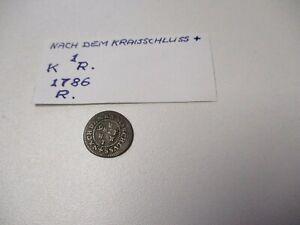 """kleine Münze 1786 """"Nach dem Kraisschluss"""" 1 K R"""