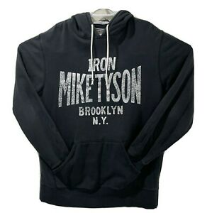 Roots Of Fight Iron Mike Tyson Distressed Pullover Hoodie Sweatshirt Black XL