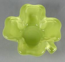 Small Cased Glass Dish - 4 Leaf Clover, Light Lime Green