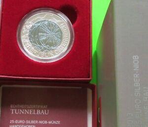"""25 Euro Bimetallmünze """"Tunnelbau"""" +Werbefolder (ZT6216)  AMK.Nr.11 hgh"""