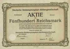 Deutsche Südseephosphat AG 1923 Bremen Nordd. Lloyd Tellus AG Frankfurt 100 RM