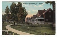 c1907 CHEYENNE WYOMING OFFICERS QUARTERS FORT RUSSELL VINTAGE POSTCARD WY OLD !!