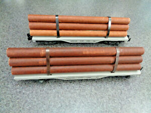 American Flyer S Gauge Two 1954 Tin Log Carrier Flat Cars In Exc. Cond.