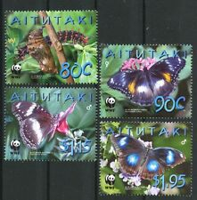 WWF Blue Moon Butterfly mnh set of 4 stamps 2008 Aitutaki #539-42