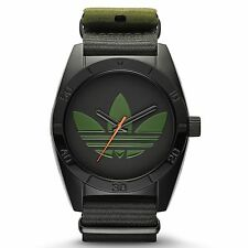 Adidas Mens ADH2875 Santiago Ion Plated Steel Khaki Green Black Watch