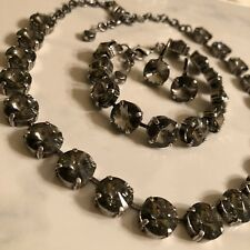 Black Diamond Made W SWAROVSKI Crystal Elements Jewelry Set New