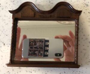Dolls house miniature 1:12 HANDMADE wooden framed overmantle mirror