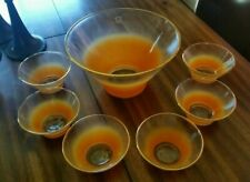 VINTAGE RETRO Handmade Orange  Colonial Glass  BOWL Salad Set 7 pieces