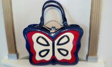 Ladies Butterfly Designer Fashion Handbag. Clasp Top. Oxford Blue.Fast Delivery.