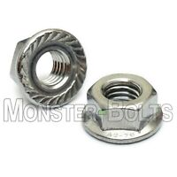 Serrated Hex Flange Lock Nuts DIN 6923, A2 Stainless Steel - M4 M5 M6 M8 M10 M12