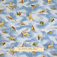 Christmas Fabric - O Snowy Night Forest Animal Toss Blue - Red Rooster YARD