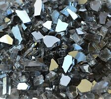 "10 Lbs 1/4"" GUNMETAL GREY REFLECTIVE Fire Glass, Fireplace, Fire Pit Glass Rocks"