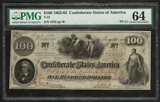1862 $100 Confederate States Note (Pf-11) – Pmg Choice Uncirculated 64