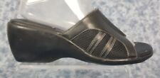 Clarks Size 9M Womens Black Leather Slip On Open Toe Wedges