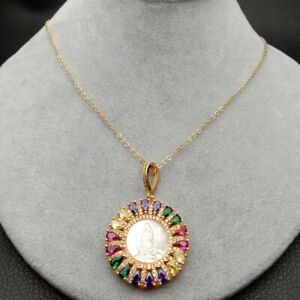 White Shell Virgin Mary Rainbow CZ Micro Pave coin Pendant necklace