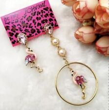 Betsey Johnson PINk FLaMiNgO Earrings Crystals Pearl Gold Adorable Gift Box Bag