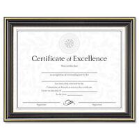 """DAX Gold-Trimmed Document Frame w/Certificate, Wood, 8.5x11, Blk DAXN2709N6T"""