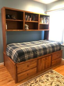 Solid Wood Captains Bed (Twin) & Mounted Bookcase
