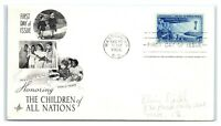 FDC 1956 3c #1085 The Children of All Nations, Washington DC A3